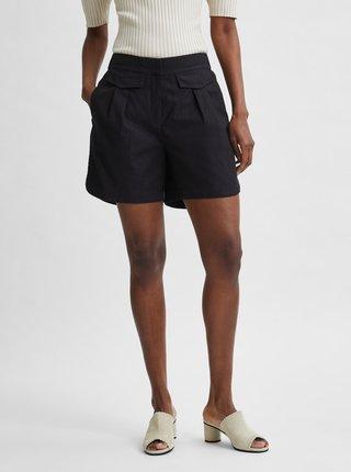 Černé lněné kraťasy s vysokým pasem Selected Femme Cecilie