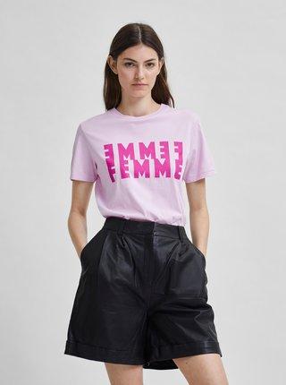 Světle růžové tričko s potiskem Selected Femme Simi