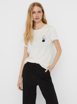 Bílé tričko s potiskem VERO MODA Donna