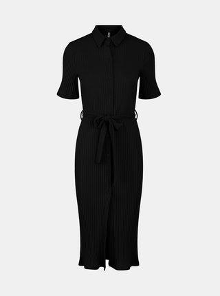 Čierne košeľové midišaty Pieces Tiana
