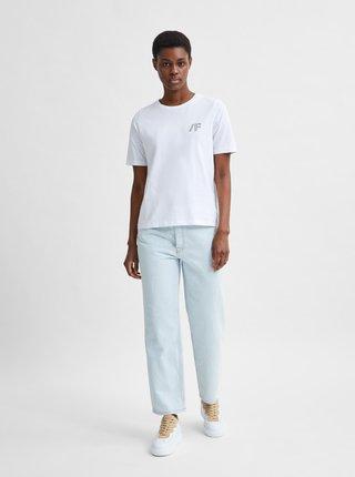 Biele tričko s potlačou Selected Femme Brielle