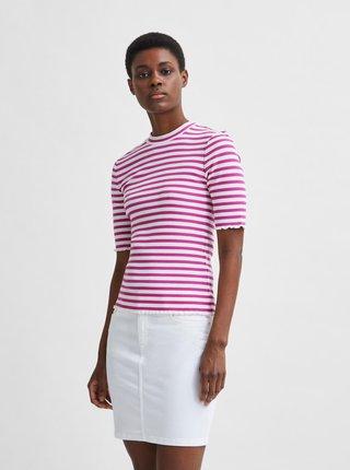 Bílo-růžové pruhované tričko Selected Femme Anna