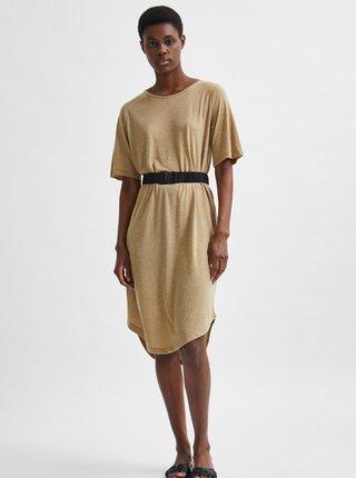Béžové voľné šaty s prímesou ľanu Selected Femme Ivy