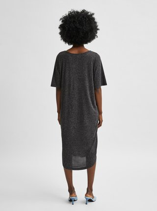 Tmavošedé voľné šaty s prímesou ľanu Selected Femme Ivy