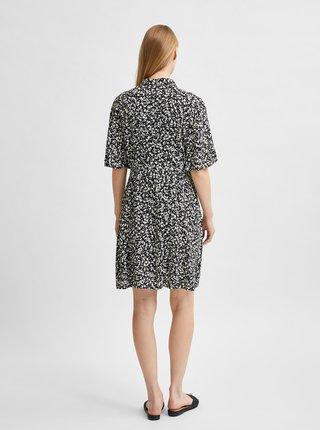 Čierne vzorované košeľové šaty Selected Femme Uma