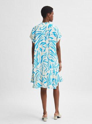 Modro-biele vzorované šaty Selected Femme Tessi