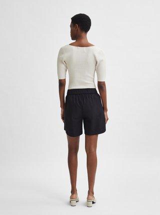 Krémové žebrované tričko Selected Femme Mace