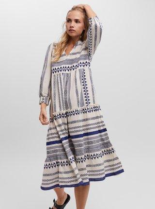 Modro-krémové vzorované midi šaty VERO MODA Ditche