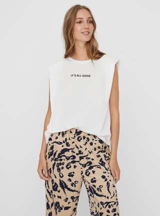 Bílé tričko s nápisem VERO MODA Hollie