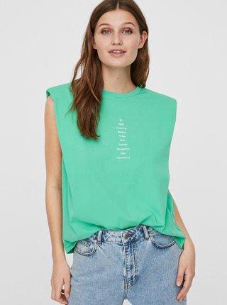 Svetlozelené tričko s nápisom VERO MODA Hollie
