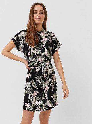 Černé květované košilové šaty VERO MODA Easy
