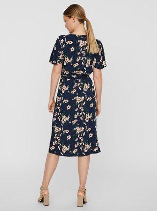 Tmavomodré kvetované šaty VERO MODA Simply