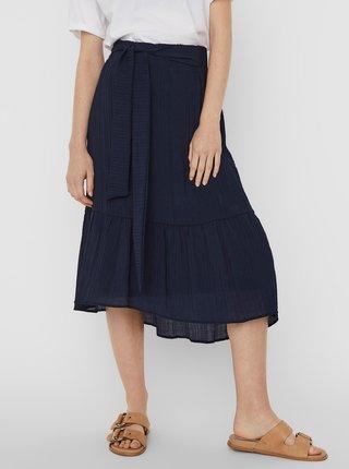 Tmavě modrá midi sukně VERO MODA Hajija