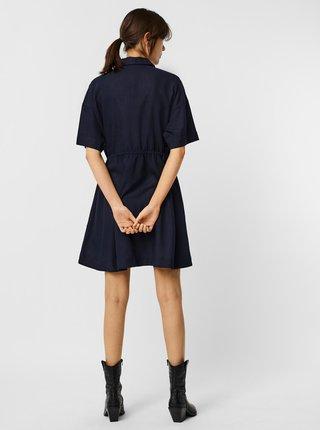Tmavě modré košilové šaty s příměsí lnu VERO MODA Haf