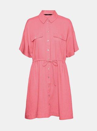 Růžové košilové šaty s příměsí lnu VERO MODA Haf