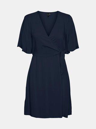 Tmavě modré zavinovací šaty VERO MODA Ibina