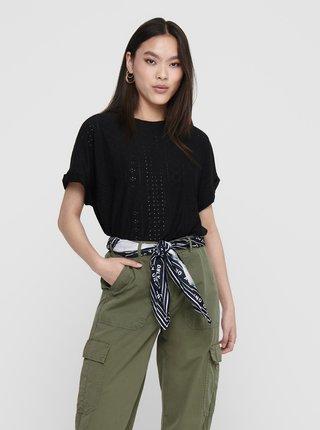 Čierne vzorované tričko Jacqueline de Yong Fatinka