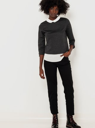 Tričká s dlhým rukávom pre ženy CAMAIEU - tmavosivá