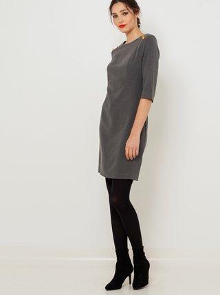 Tmavě šedé šaty s tříčtvrtečním rukávem CAMAIEU