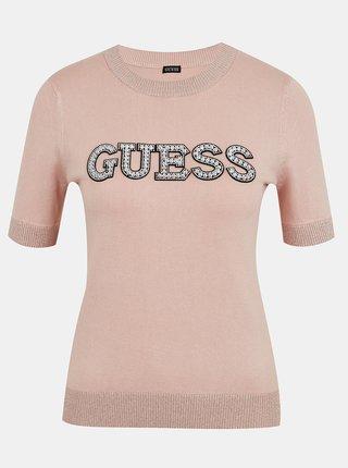 Světle růžové dámské svetrové tričko s ozdobnými detaily Guess Clarisse