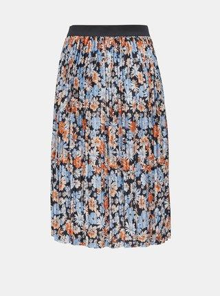 Oranžovo-modrá květovaná plisovaná sukně Jacqueline de Yong Boa