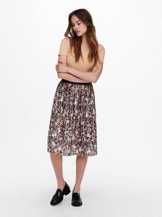 Krémovo-fialová květovaná plisovaná sukně Jacqueline de Yong Boa