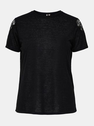Černé tričko s detaily na rukávech ONLY CARMAKOMA Celine