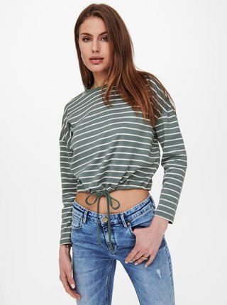 Bílo-zelené pruhované krátké tričko ONLY Brilliant