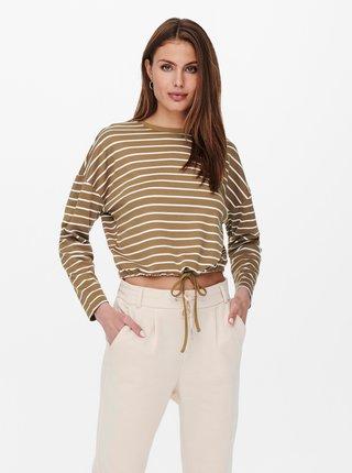 Bielo-hnedé pruhované krátke tričko ONLY Brilliant