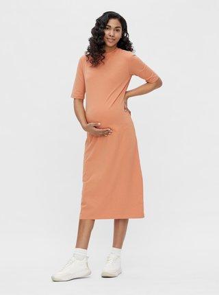 Oranžové tehotenské midišaty Mama.licious Sia
