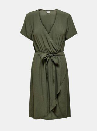 Khaki zavinovací šaty Jacqueline de Yong Lea
