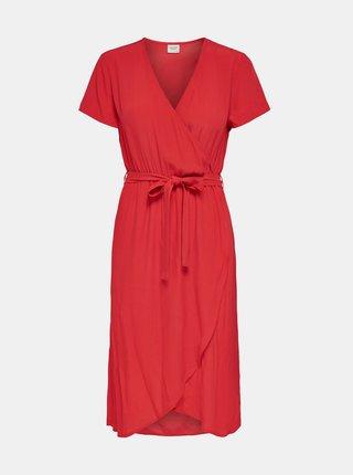 Červené zavinovací šaty Jacqueline de Yong Lea