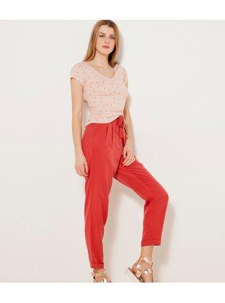 Červené kalhoty s vysokým pasem CAMAIEU