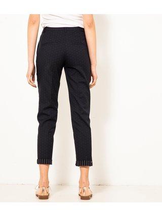 Tmavě modré vzorované zkrácené kalhoty CAMAIEU
