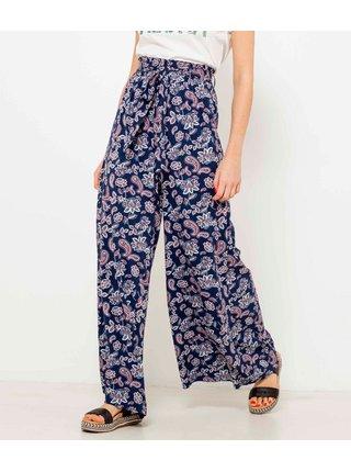 Tmavě modré květované široké kalhoty s vysokým pasem CAMAIEU