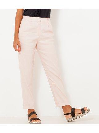 Světle růžové lněné zkrácené kalhoty CAMAIEU