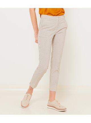 Světle šedé pruhované zkrácené kalhoty CAMAIEU