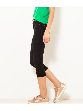 Černé 3/4 slim fit kalhoty s páskem CAMAIEU
