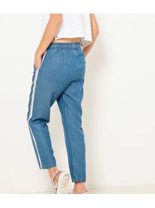 Modré zkrácené kalhoty s lampasem CAMAIEU