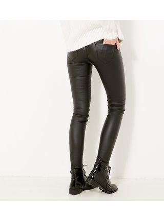Černé koženkové skinny fit kalhoty CAMAIEU