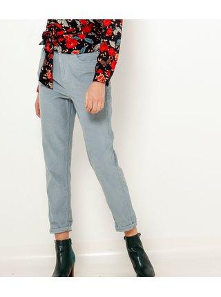 Modré zkrácené manšestrové kalhoty CAMAIEU