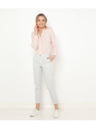 Bílé pruhované zkrácené kalhoty CAMAIEU