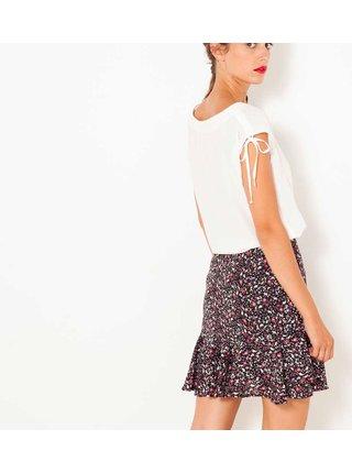 Růžovočerná květovaná sukně s volány CAMAIEU
