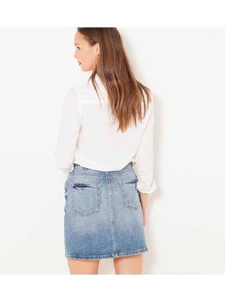 Modrá džínová sukně s ozdobnými detaily CAMAIEU