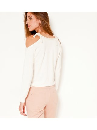 Biely ľahký sveter s priestrihmi na ramenách CAMAIEU