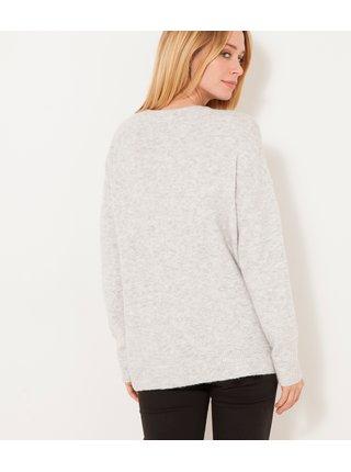 Světle šedý žíhaný svetr CAMAIEU