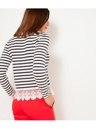 Bílo-černý pruhovaný lehký svetr se zdobením CAMAIEU