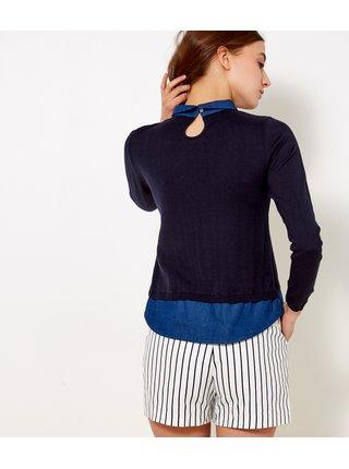 Tmavě modrý svetr s všitou košilovou částí CAMAIEU