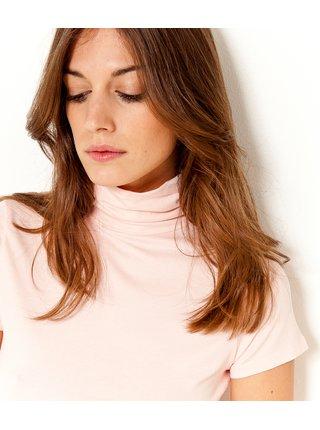 Světle růžové tričko s rolákem CAMAIEU