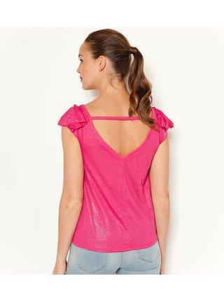 Ružové lesklé tričko s volánmi CAMAIEU